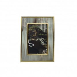 Grey horn w/ gold trim photo frame