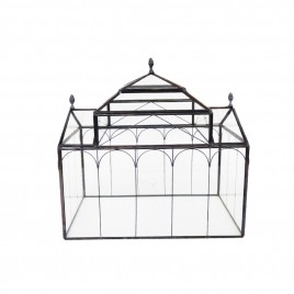 Metal frame glass candle box (L)