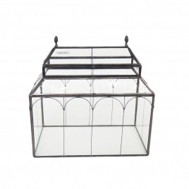 Metal frame glass candle box (S)