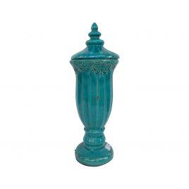Blue Finial Ceramic Jar (Large)