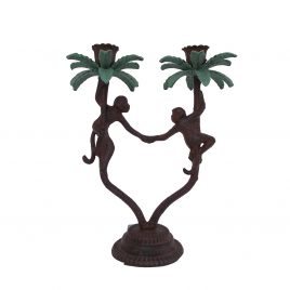 Bronze Palm Tree Candle Stick with monkey