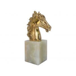 Golden horse head on mable base