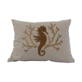 Seahorse Hand Embroidery on Chambrey Cotton