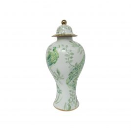 Green Peacock Ceramic Vase (Large)