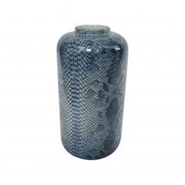 Blue Snakeskin ceramic vase