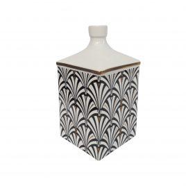 B&W Art Deco Pattern Ceramic Vase (Small)