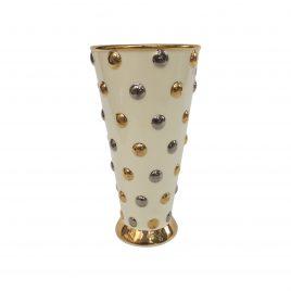 Gold Polka Dot Ceramic Vase