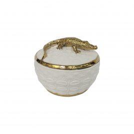 Gold Crocodie Ceramic Jar
