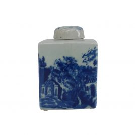 Decorative Blue & White Ceramic Canister (S)