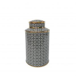 B&W Pattern Ceramic Ginger Jar (Small)