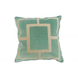 Roussel Blue Geometric Embroidery Velvet Pillow (L)