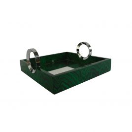 Green Malachite Mirror Tray w/ Silver Handle