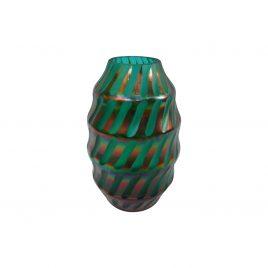 Teal Gold Swirl Glass Vase (S)