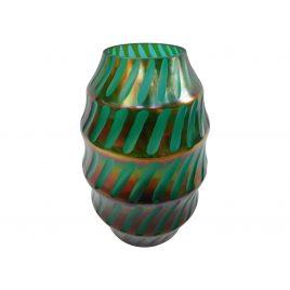 Teal Gold Swirl Glass Vase (L)