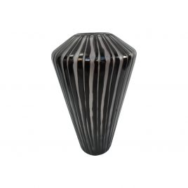 Black and White Stripe Glass Vase (L)