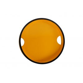 Yellow round lacquered serving tray