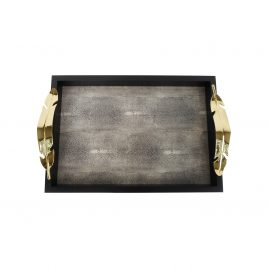 Black tray faux shagreen inlay w/ golden leaves handle