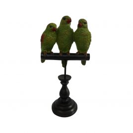 Trio Green Parrot on a Wooden Perch