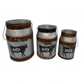Decorative Tin Metal Dairy Milk Jug ( set 3)