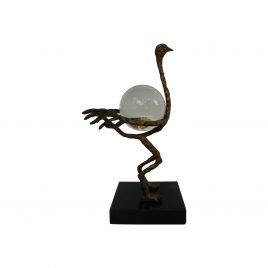 Bronze ostrich crystal ball