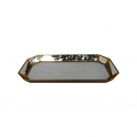 Glass Mirror Tray w/ Gold Trim