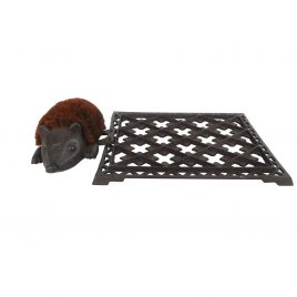 Cast Iron Doormat w/ Hedgehog Scraper