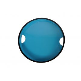 Blue round lacquered serving tray