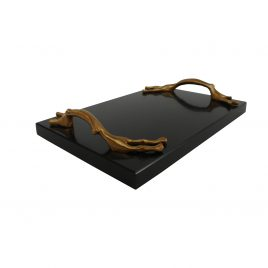 Mocha Slate Tray w/ golden handle
