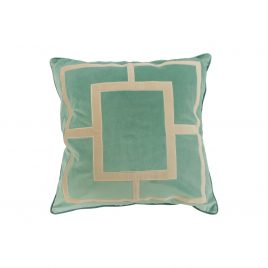 Roussel Blue Geometric Embroidery Velvet Pillow (L)