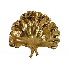 Golden Ceramic Leaf Tray