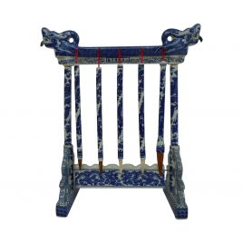 Blue & White Ceramic Chinese calligraphy brush holder stand