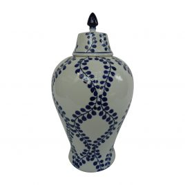 Ceramic navy blue leaves Canister (L)