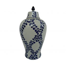 Ceramic navy blue leaves Canister (S)