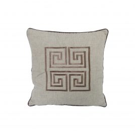 Grey geometric embroidery throw pillow