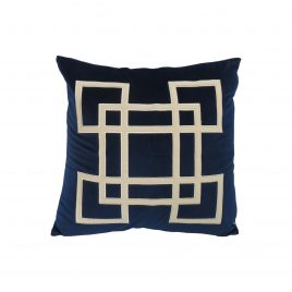 Royal Blue geometric embroidery velvet pillow