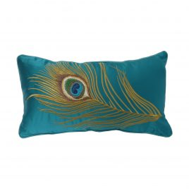 Peacock Feather embroidery velvet pillow