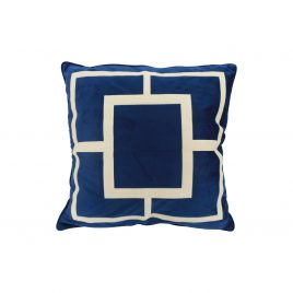 Royal Blue Geometric Embroidery  Velvet Pillow (L)