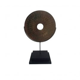 Stone disc coin w/stand (S)