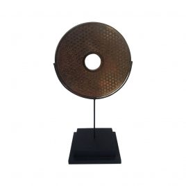 Stone disc coin w/stand (M)