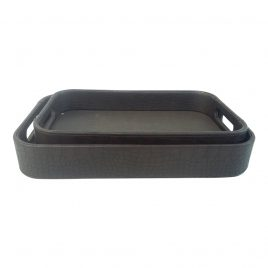 Leather serving tray in coffee color (2 pcs/set)