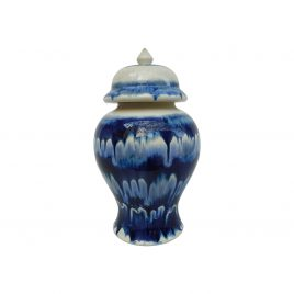 Blue Drip Ceramic Canister