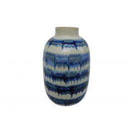 Blue Drip Ceramic Vase