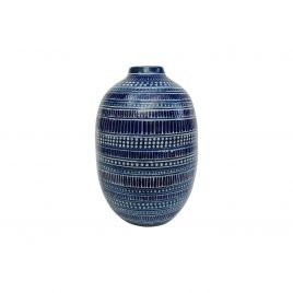 Blue Swirl Ceramic Vase