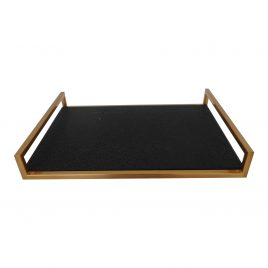 Gold Tray w/ faux shagreen inlay (S)