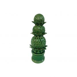 Helsa Stacked Artichokes Accent Green ceramic
