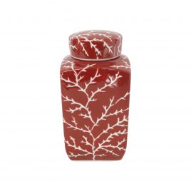 Red Coral Ceramic Ginger Jar