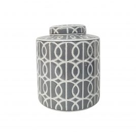 Grey & White Patterned Ginger Jar w/t Lid (Small)