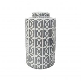 Grey & White Patterned Ginger Jar w/t Lid (Large)