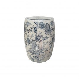 Blue and White Ceramic Garden Stool