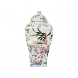 Parrot ceramic ginger jar w/ Lid (Large)